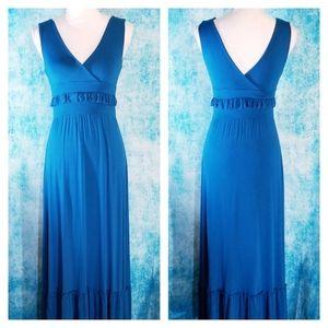 Anthro C. Keer Sea Drift Ruffled Blue Maxi Dress